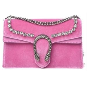 Gucci Mini Dionysus Crystal Pink Velvet Cross Body